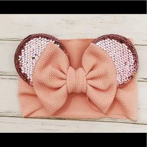 Other - New rose gold Minnie Mouse Turban Head Bow Ears